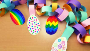 Paper chains are a classic craft and decoration when you have kids. It is a great way to get ready for any special occasion and it is a great way to practice cutting an important skill that helps develop hand-eye coordination and fine motor skills. This Easter egg paper chain is a go-to craft for the Easter season. #CraftsforKids