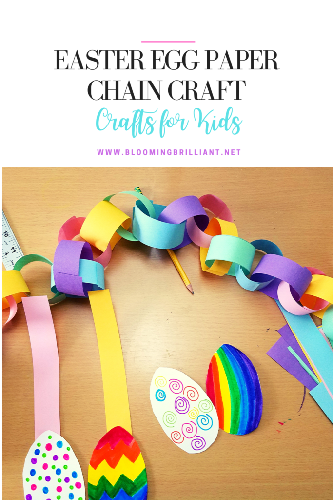 Pinterest Pin Paper chains are a classic craft and decoration when you have kids. It is a great way to get ready for any special occasion and it is a great way to practice cutting an important skill that helps develop hand-eye coordination and fine motor skills. This Easter egg paper chain is a go-to craft for the Easter season. #CraftsforKids