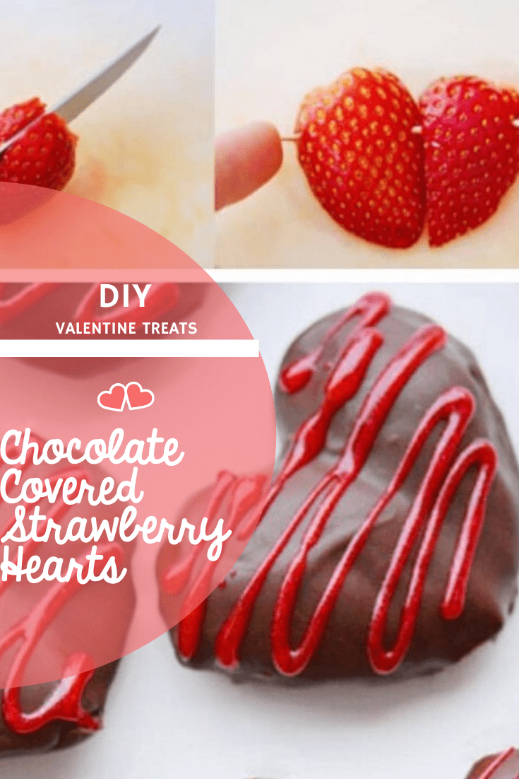 Pinterest Pin DIY Chocolate Covered Strawberry Hearts